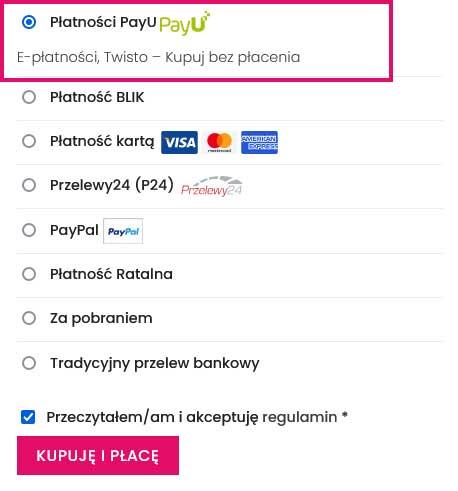 Wybierz płatności PayU